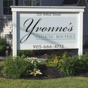 Yvonne's Esthetic Boutique Sign and Gardens